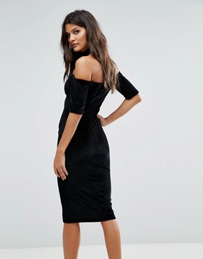 photo Textured Velvet T Bar Neck Midi Dress by AX Paris, color Black - Image 2
