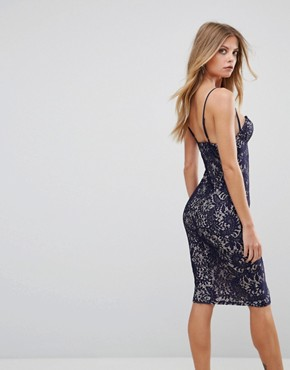 photo Lace Bodycon Dress with Contrast Lining by AX Paris, color Navy/Cream - Image 2