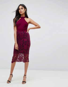 photo Racer Neck Midi Dress with Crochet Lace Skirt and Contrast Lining by AX Paris, color Plum - Image 1