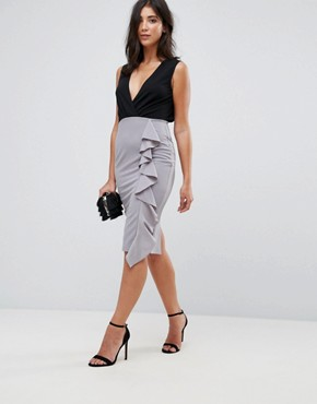 photo Midi 2-In-1 Dress with Frill Ruffle by AX Paris, color Black/Pewter - Image 1