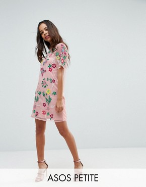 photo Mesh T-Shirt Dress with Floral Embroidery by ASOS PETITE PREMIUM, color Blush - Image 1