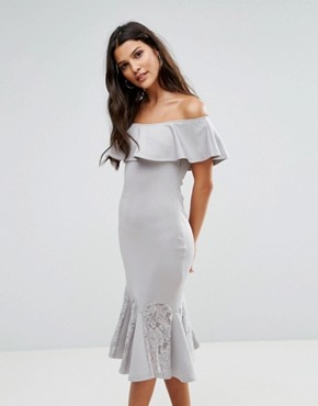 photo Bardot Dress with Lace Pephem by AX Paris, color Silver Grey - Image 1