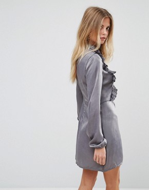 photo Frill Detail Long Sleeve Shift Dress by AX Paris, color Grey - Image 2