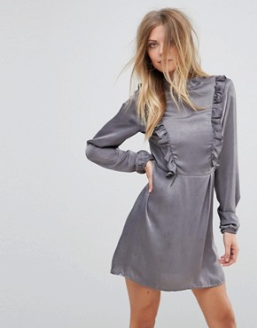 photo Frill Detail Long Sleeve Shift Dress by AX Paris, color Grey - Image 1