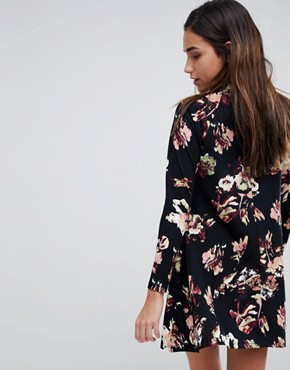 photo High Neck Long Sleeve Swing Dress by AX Paris, color Black Floral - Image 2
