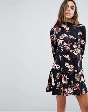 photo High Neck Long Sleeve Swing Dress by AX Paris, color Black Floral - Image 1