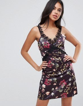 photo Satin Cami Mini Dress with Lace Insert by Oh My Love, color Dark Floral - Image 1