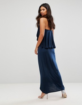 photo High Neck Frill Maxi Dress by Girl in Mind, color Navy - Image 2