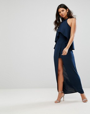 photo High Neck Frill Maxi Dress by Girl in Mind, color Navy - Image 1