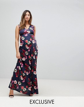 photo Maxi Dress with Plunge Neck and Cut Out Detail by Bluebelle Maternity, color Blue Multi - Image 1