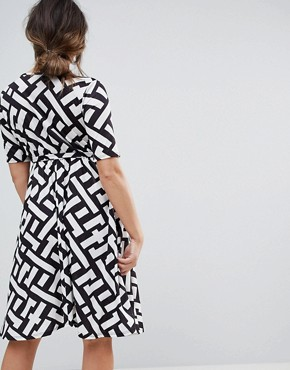 photo Wrap Midi Dress with Tie Waist with Geometric Print by Bluebelle Maternity, color Abstract Multi - Image 2
