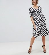 photo Wrap Midi Dress with Tie Waist with Geometric Print by Bluebelle Maternity, color Abstract Multi - Image 1