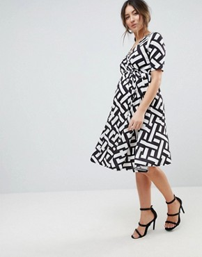 photo Wrap Midi Dress with Tie Waist with Geometric Print by Bluebelle Maternity, color Abstract Multi - Image 4