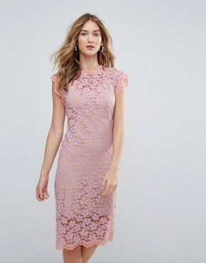 photo High Neck Contrast Lace Overlay Pencil Dress by Traffic People, color Purple - Image 1