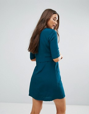 photo 3/4 Sleeve Shift Dress with Pocket Detail by Traffic People, color Petrol Blue - Image 2