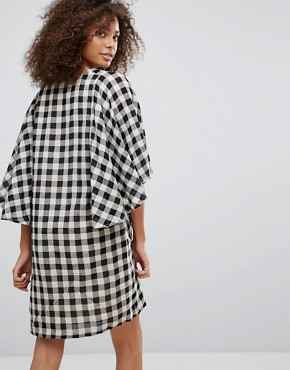 photo Gingham Kimono Sleeve Shift Dress by Traffic People, color Black - Image 2