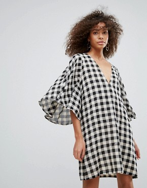 photo Gingham Kimono Sleeve Shift Dress by Traffic People, color Black - Image 1