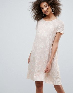 photo Printed Lace Shift Dress by Traffic People, color Cream - Image 1