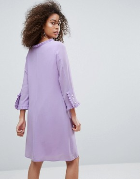 photo Long Sleeve Shift Dress with Frill Detail by Traffic People, color Lilac - Image 2