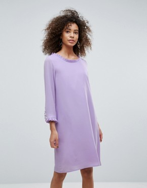 photo Long Sleeve Shift Dress with Frill Detail by Traffic People, color Lilac - Image 1