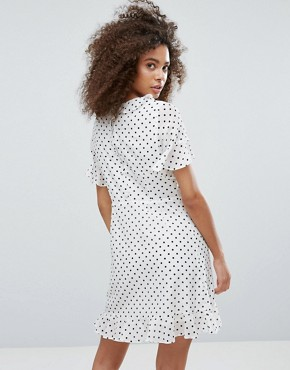 photo Polka Dot Dress with Frill Hem by Traffic People, color White - Image 2