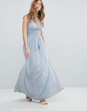 photo Beach Maxi Dress Tie Detail by Traffic People, color Blue - Image 1