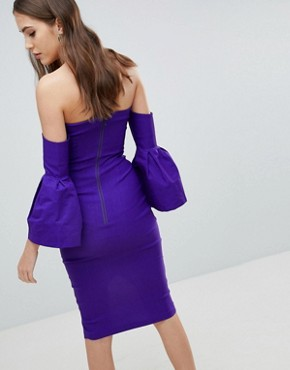 photo Bardot Bell Sleeve Pencil Dress by Vesper Tall, color Jewelled Purple - Image 2