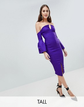 photo Bardot Bell Sleeve Pencil Dress by Vesper Tall, color Jewelled Purple - Image 1