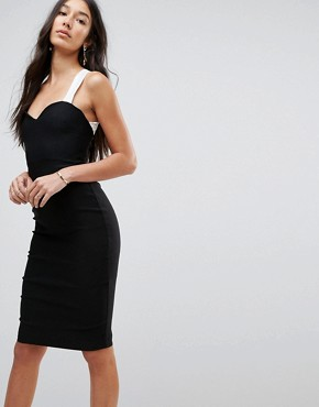 photo Pencil Dress with Contrast Strap Detail by Vesper Tall, color Black/White - Image 2