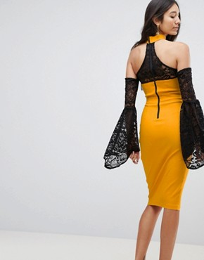 photo Cold Shoulder Lace Bell Sleeve Dress by Vesper Tall, color Mustard Yellow - Image 2