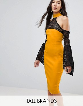 photo Cold Shoulder Lace Bell Sleeve Dress by Vesper Tall, color Mustard Yellow - Image 1