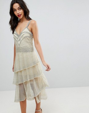 photo All Over Beaded Flapper Midi Dress by ASOS EDITION, color Cream - Image 1
