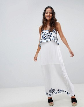 photo Mediterranean Embroidered Maxi Dress by Raga, color Blue/White - Image 1