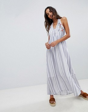 photo Setting Sail Halterneck Maxi Dress by Raga, color Blue/White - Image 1