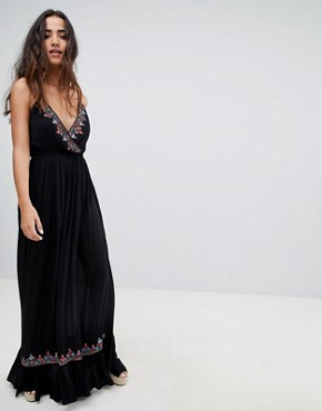 photo Bandita Embroidered Maxi Dress by Raga, color Black - Image 1