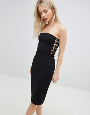 photo Strapless Pencil Dress by QED London, color Black - Image 1