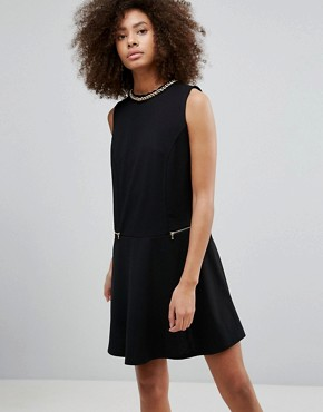 photo Shift Dress with Zip Detail by QED London, color Black - Image 1