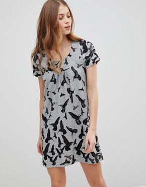 photo Bird Printed Tunic Dress by QED London, color Grey - Image 1