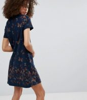 photo Butterfly Printed Tunic Dress by QED London, color Navy - Image 2