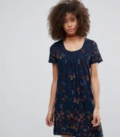 photo Butterfly Printed Tunic Dress by QED London, color Navy - Image 1