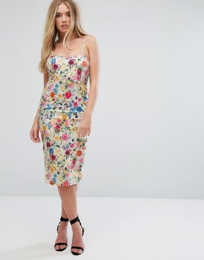 photo Floral Cami Dress by QED London, color White/Floral - Image 4