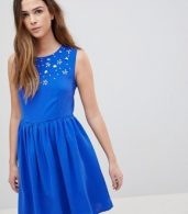 photo Skater Dress with Embellished Detail by QED London, color Royalblue - Image 1