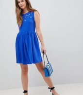 photo Skater Dress with Embellished Detail by QED London, color Royalblue - Image 4