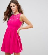 photo Skater Dress with Embellished Detail by QED London, color Fuchsia - Image 1