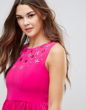 photo Skater Dress with Embellished Detail by QED London, color Fuchsia - Image 3