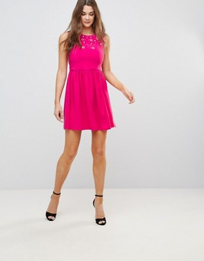 photo Skater Dress with Embellished Detail by QED London, color Fuchsia - Image 4