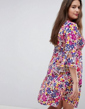photo Floral Bell Sleeve Dress by Lovedrobe, color Multi - Image 2