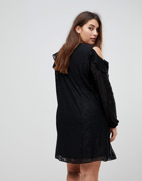 photo Cold Shoulder Ruffle Detail Lace Shift Dress by Koko, color Black - Image 2