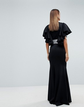 photo Deep Plunge Scuba Ruffle Sleeve Maxi Dress with Detachable Belt by ASOS EDITION, color Black - Image 2