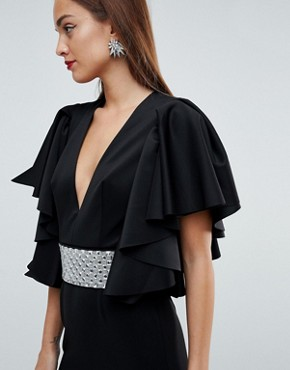photo Deep Plunge Scuba Ruffle Sleeve Maxi Dress with Detachable Belt by ASOS EDITION, color Black - Image 3